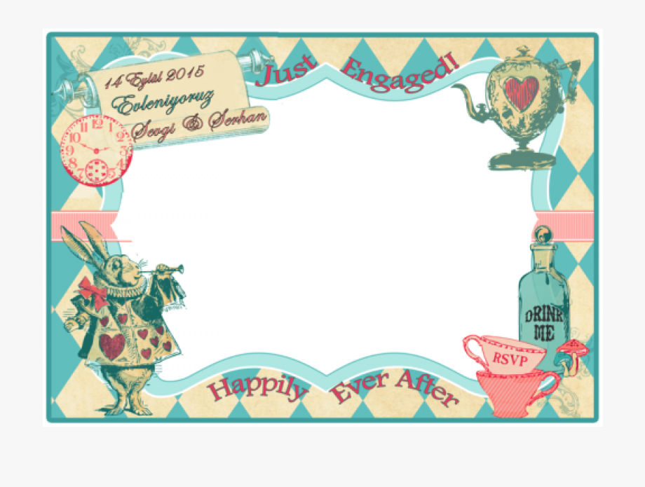 svg royalty free library Wonderland clipart border. Alice in frame