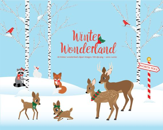 image royalty free download Wonderland clipart christmas. Winter woodland animals scene.