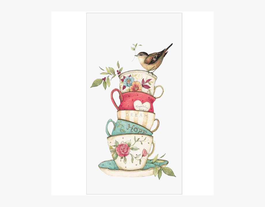 banner royalty free Bird with colorful tea. Wonderland clipart stacked teacup.