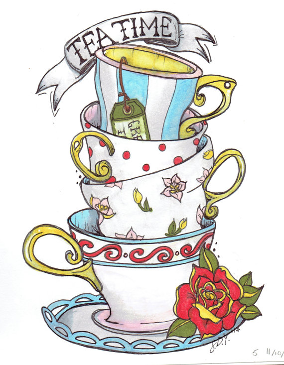 clip art black and white library Teacups drawing print by. Wonderland clipart stacked teacup.