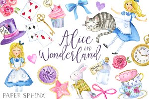 clipart freeuse library Wonderland clipart. Alice in set illustrations
