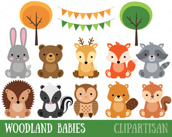 clipart royalty free library Clip art baby forest. Woodland animal clipart