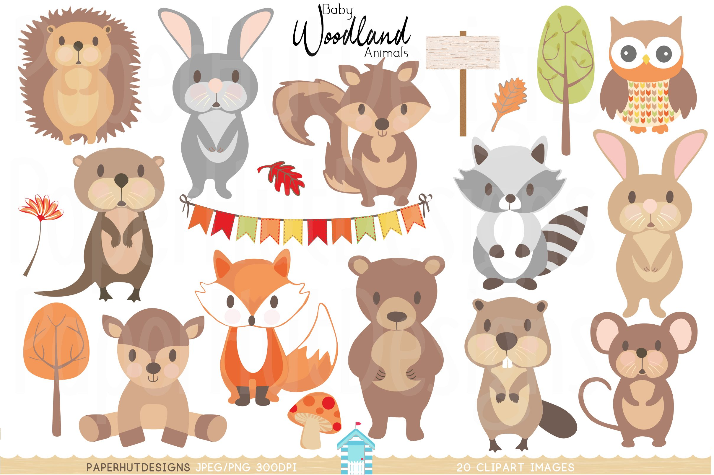 clip royalty free download Woodland animal clipart. Baby animals