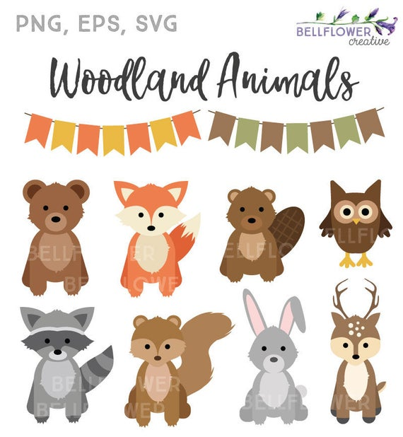 clip black and white stock Woodland animal clipart. Animals svg fall autumn