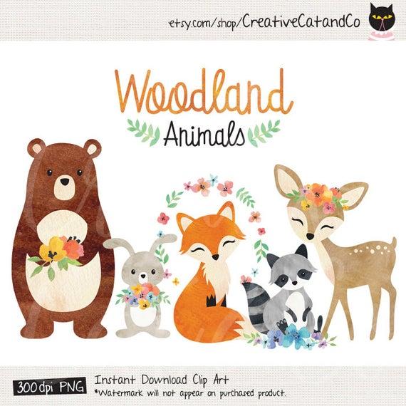 image library Watercolor animals bear fox. Woodland animal clipart