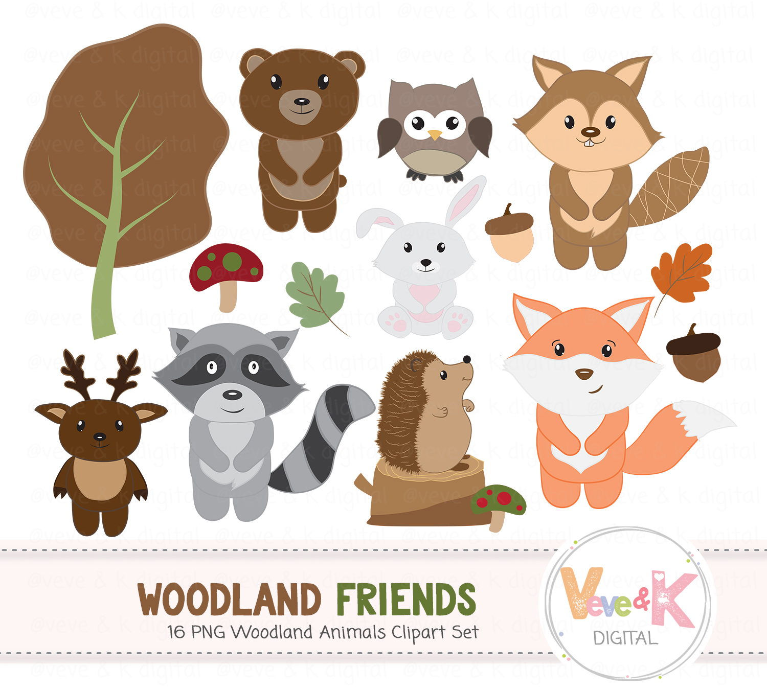 png royalty free library Woodland animal clipart. Animals set creature forest