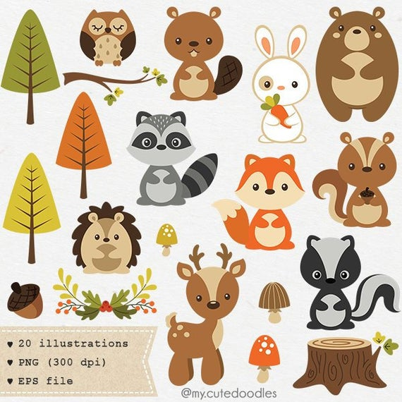 clip art free library Woodland clipart. Cute animal nursery baby