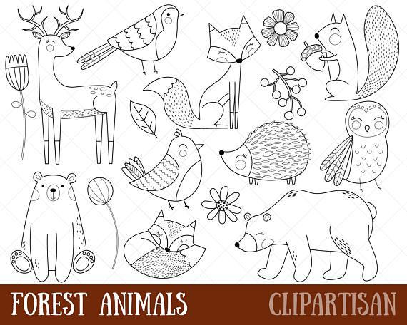 png Woodland animals digital stamps. Forest animal clipart black and white