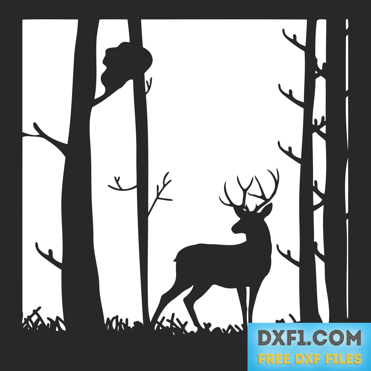 picture royalty free library Deer in the Forest landscape vector DXF SVG