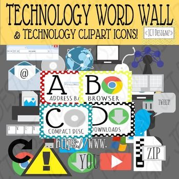 vector freeuse library Technology abc bundle and. Words clipart ict