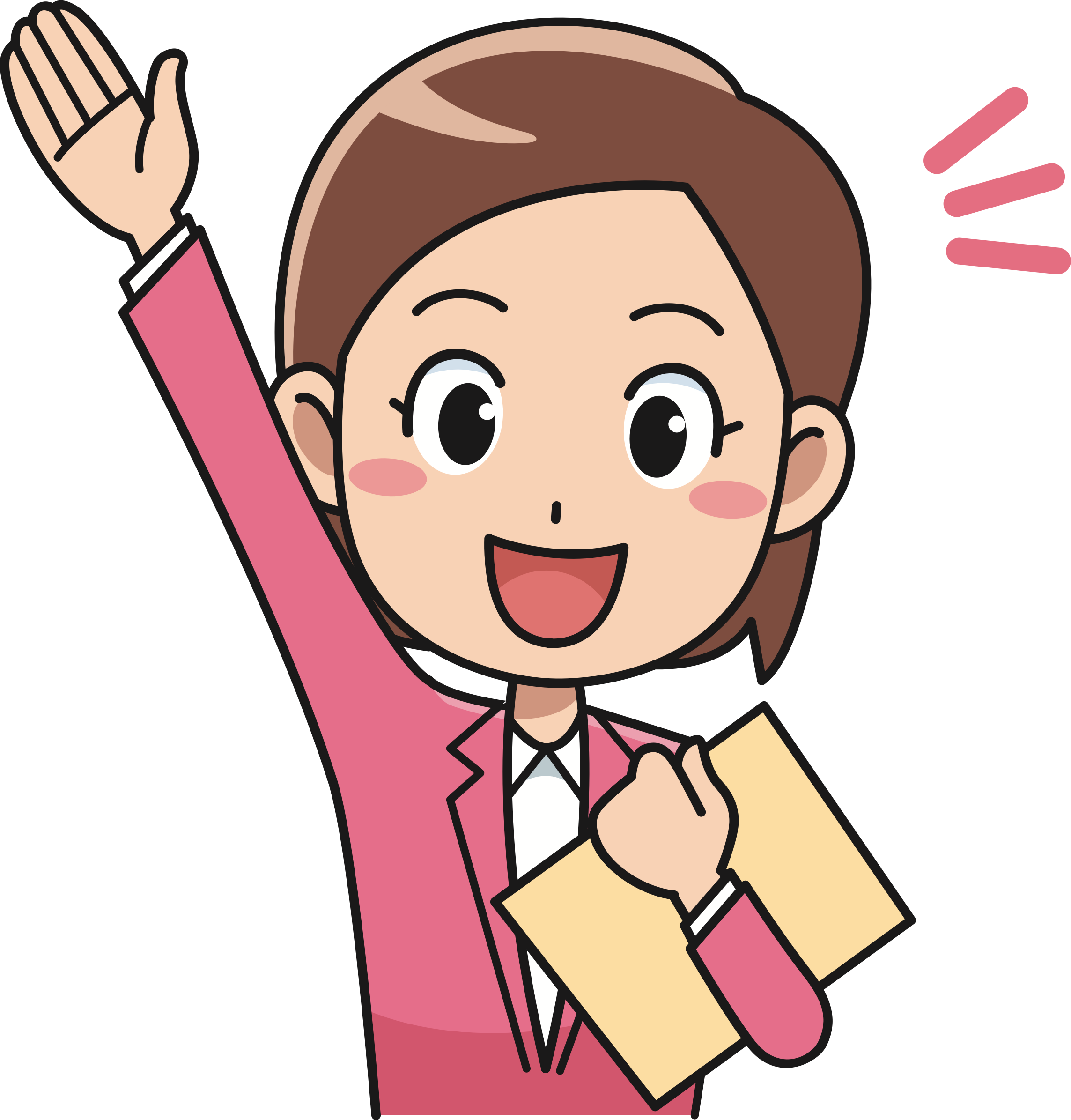 clipart Enthused female office big. Worker clipart