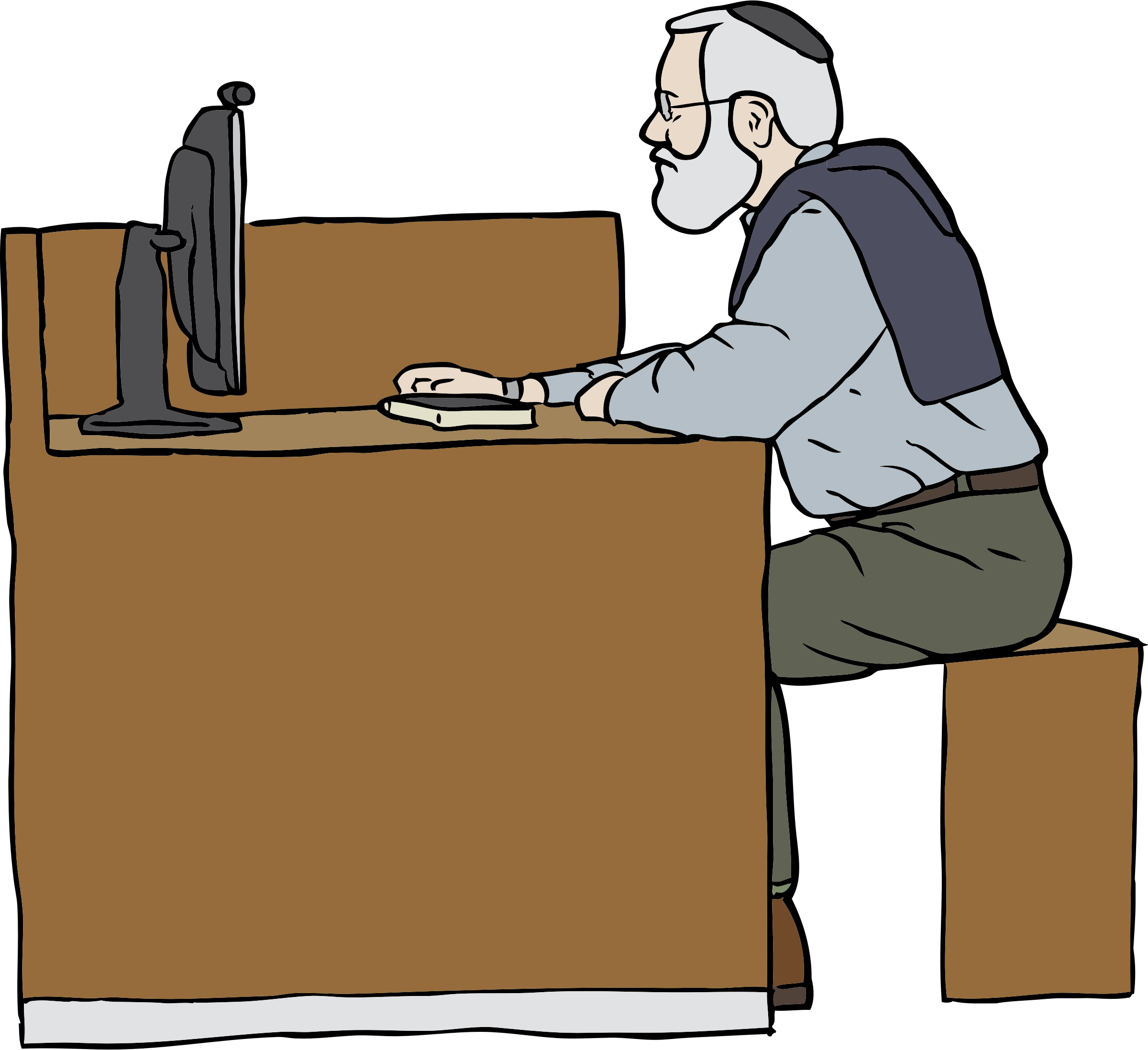 clipart transparent Working clipart. Man on computer big