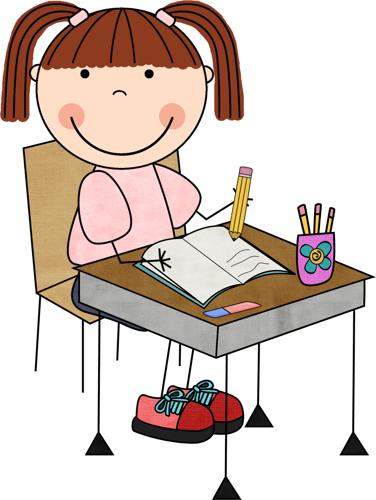 image transparent Students writing clipart. Student girl working clip