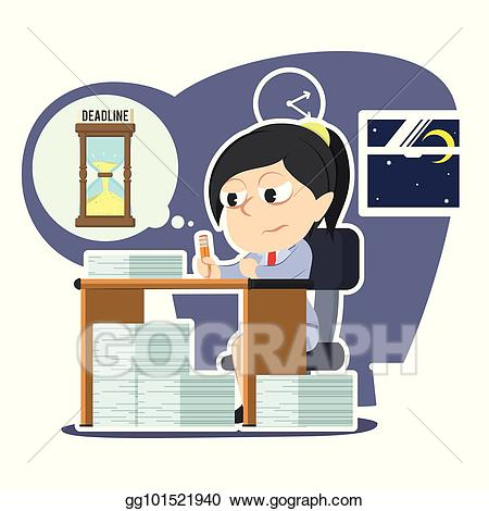 image library library Vector art tired businesswoman. Working overtime clipart.