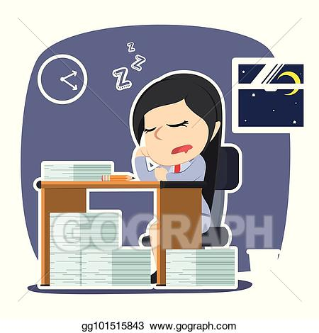 graphic freeuse library Working overtime clipart. Vector art businesswoman sleeping.