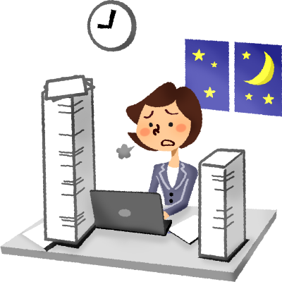 clip art transparent download Working overtime clipart. Businesswoman free illustrations.