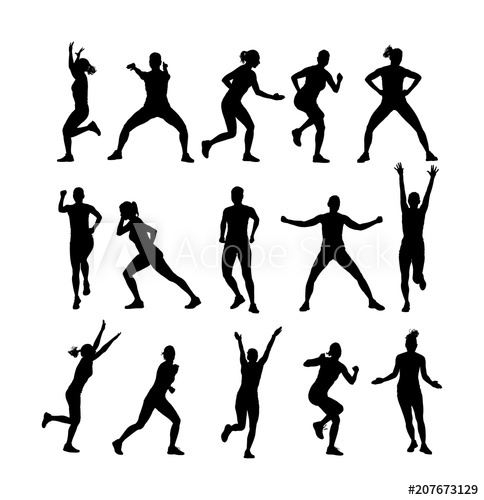 banner library download Workout vector fitness. Instructor training silhouette illustration