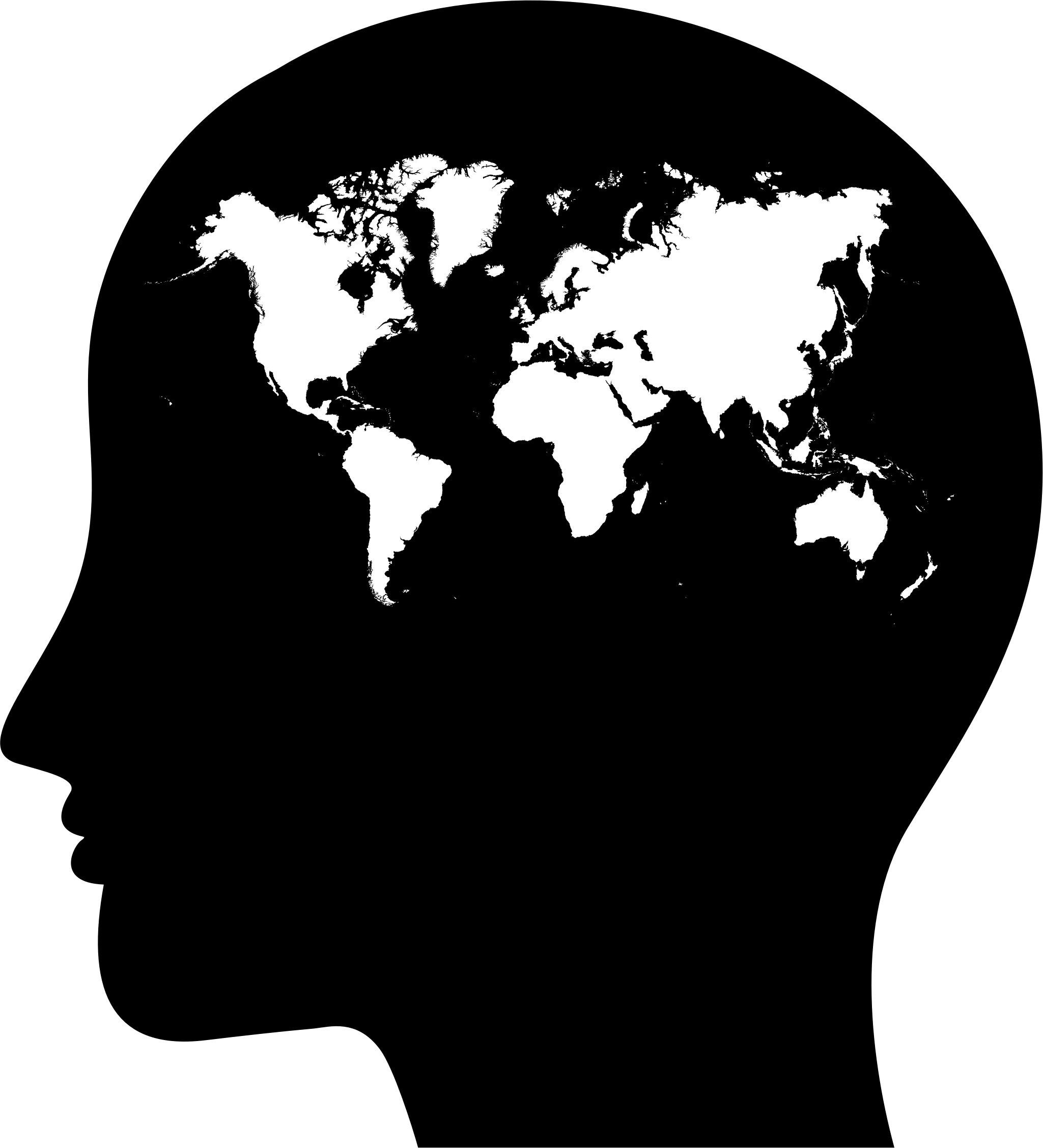 clip library library Female head profile map. World clipart silhouette