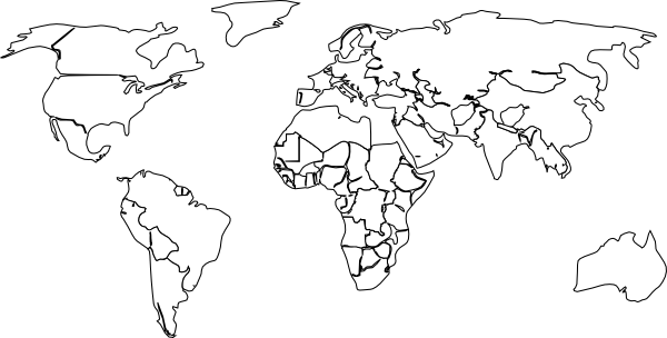 graphic black and white stock Black White Outline World Map No Background Clip Art at Clker