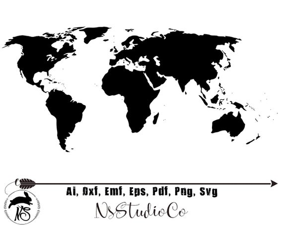 vector black and white stock World svg. Map travel clipart png.