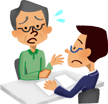 image black and white library Businessman clipart worried. Senior man having consultation.