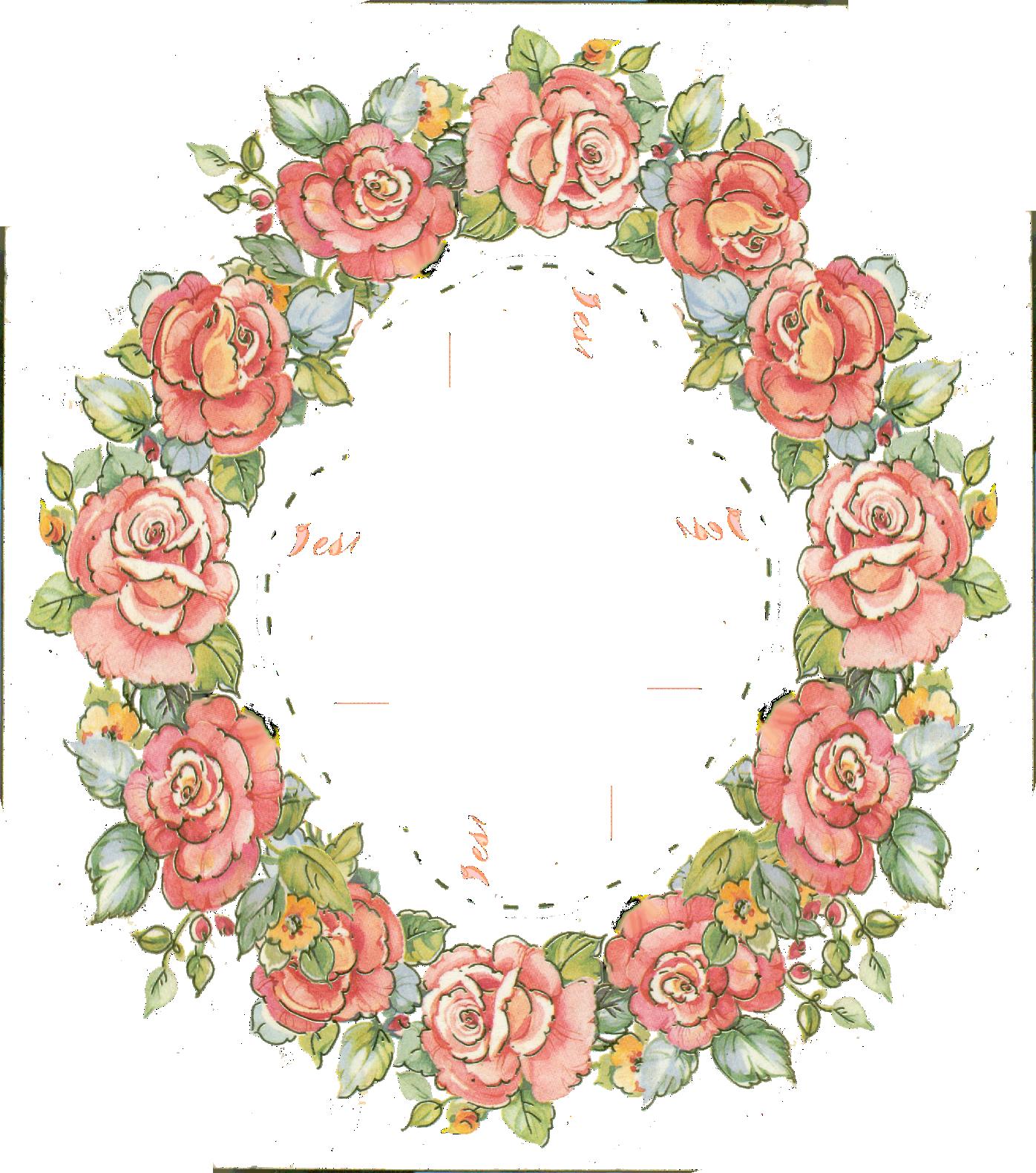 graphic freeuse download Digital vintage rose frame. Cotton wreath clipart