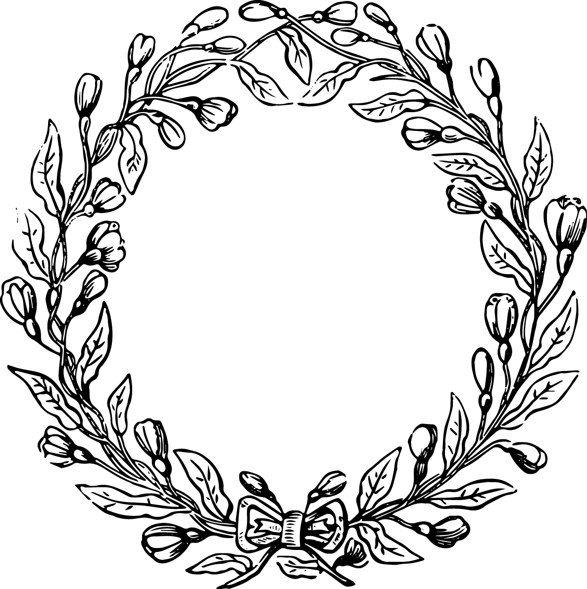 svg royalty free download Floral wreath clipart black and white. Free vector file clip