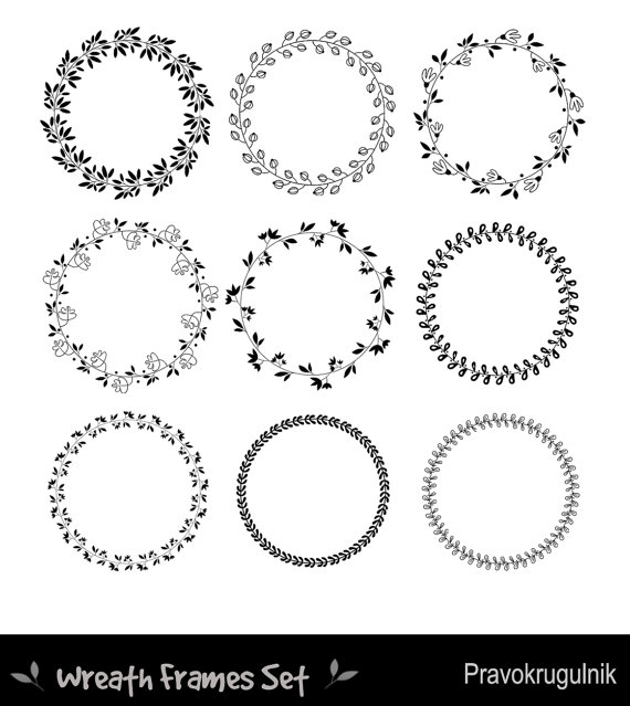 svg transparent Round borders floral wreaths. Wreath frame clipart