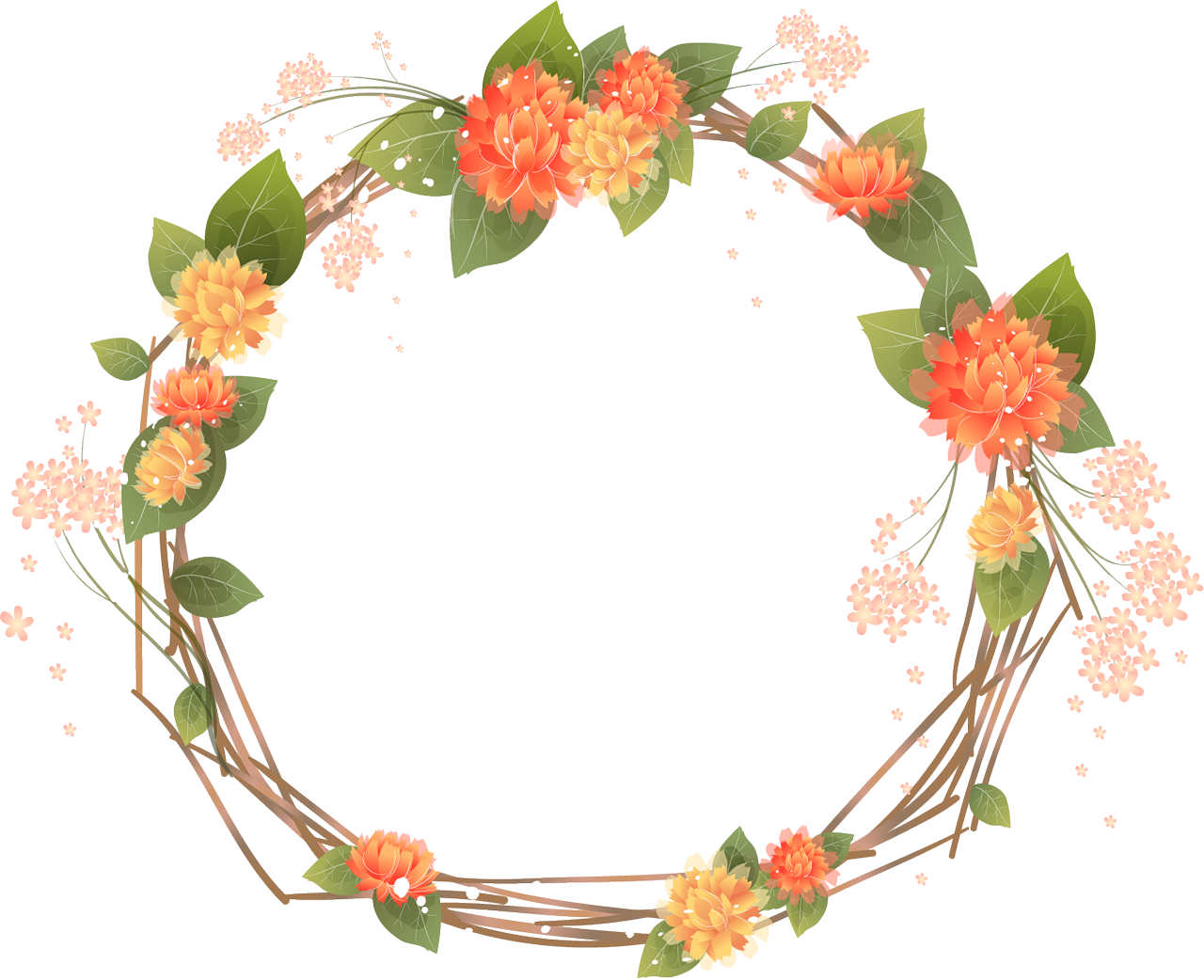 jpg royalty free stock Rustic wreath clipart. Orange frames transparent google