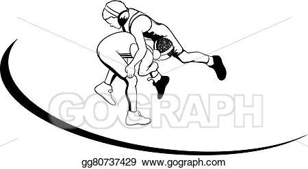 banner black and white download Vector illustration wrestlers stock. Wrestler clipart youth wrestling