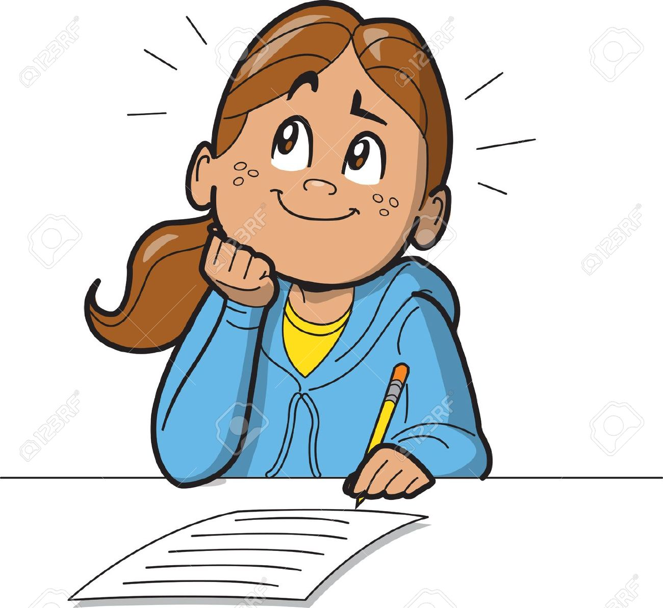 clip art transparent Boy writing girl child. Write a letter clipart