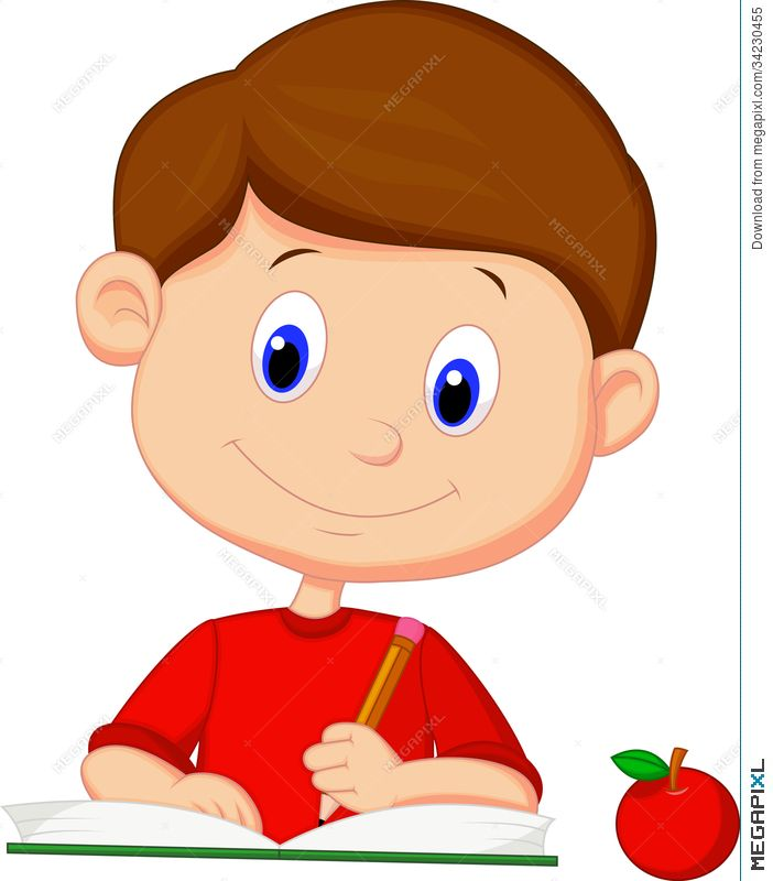 png transparent Writer clipart boy. Cute cartoon writing on