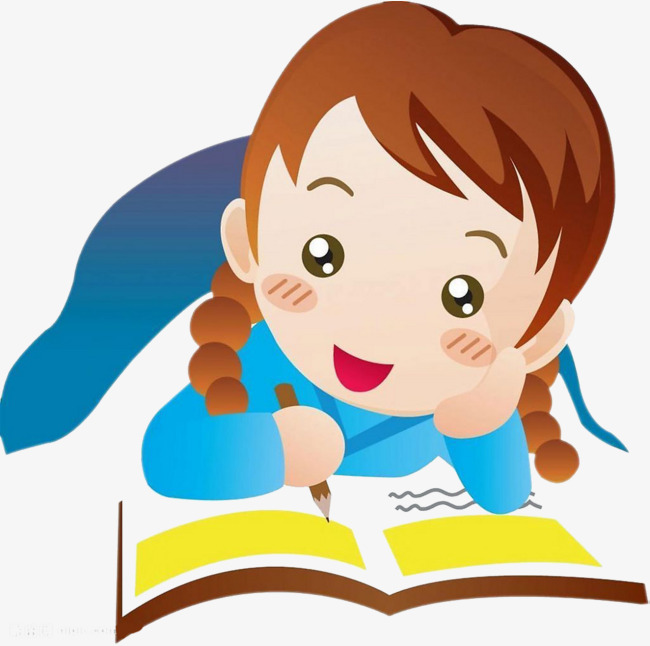clipart library Reading and writing png. Writer clipart little girl student