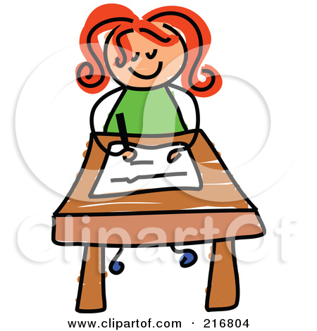 vector stock Writer clipart little girl student. Writing library free