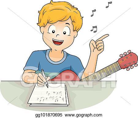 clip art transparent Writer clipart lyricist. Vector illustration boy compose
