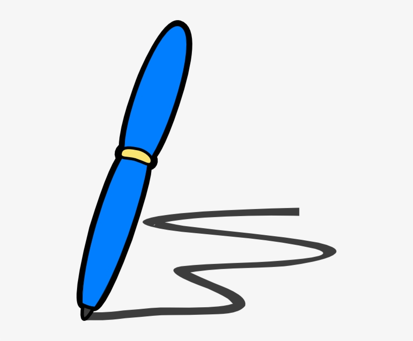 svg freeuse library Blue write clip writing. Writer clipart pen