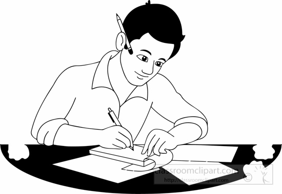 image black and white Writer clipart university student. Students writing black and