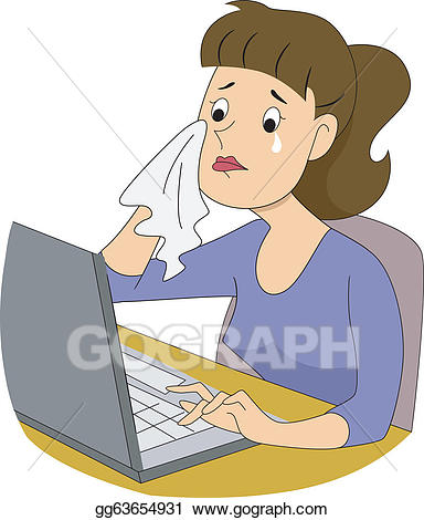 clipart library library Eps vector girl crying. Writer clipart woman