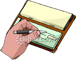 jpg black and white library Royalty free picture . Writing a check clipart.