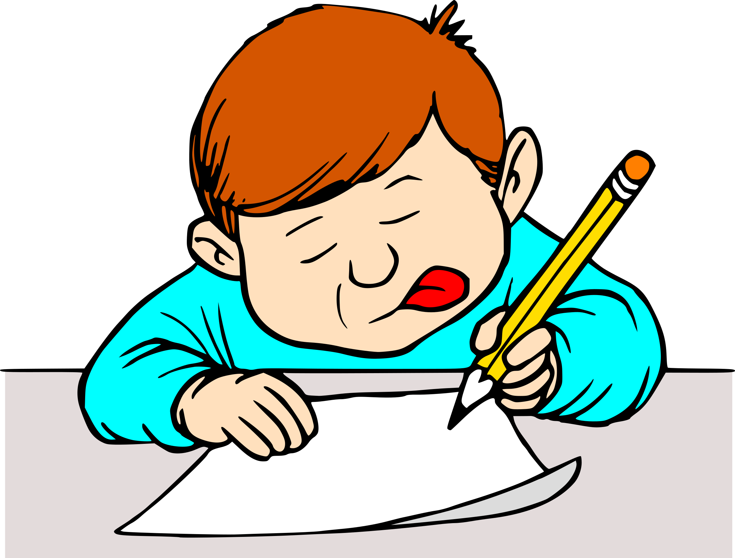 clip art transparent download Child writing clipart. Student big image png