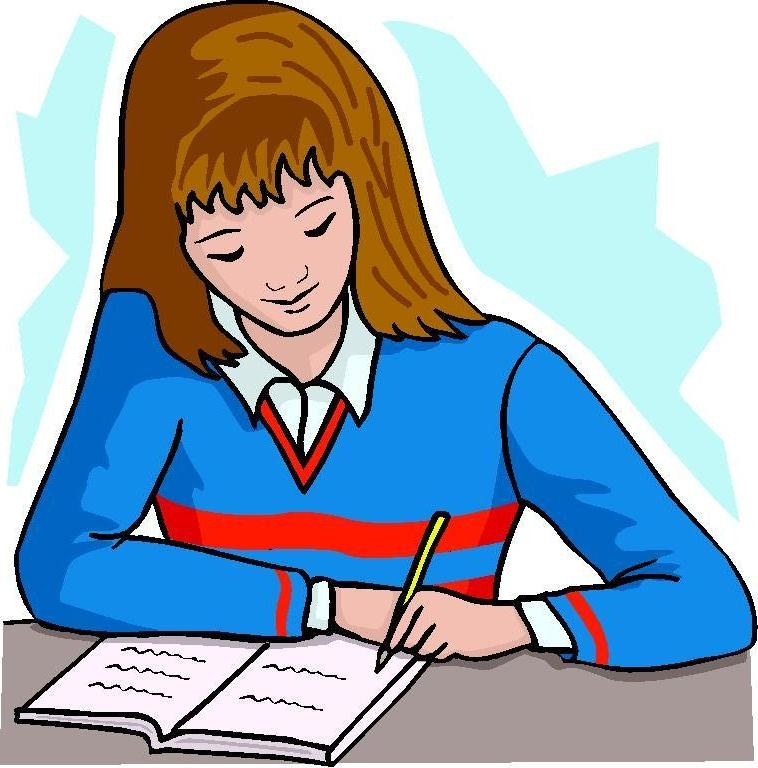 free Girl portal . Writing letter clipart