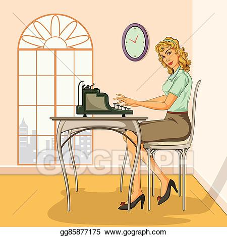 clip art transparent library Typewriter vector typing. Eps retro woman on