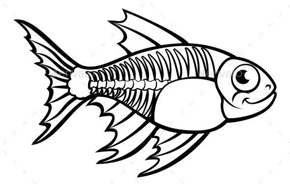 royalty free An tetra animal cartoon. X ray fish clipart