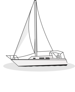 graphic transparent library Yacht clipart. Outline clip art at