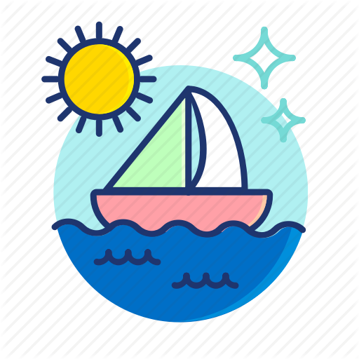 png freeuse stock Summer vibes filled outline. Yacht clipart baot
