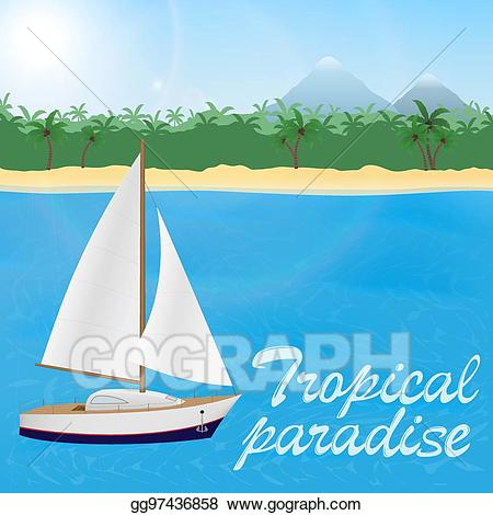 vector black and white library Eps vector summer travel. Yacht clipart beach
