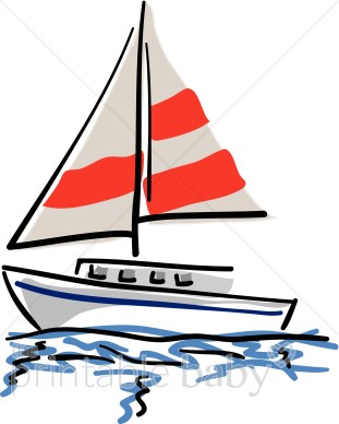 graphic royalty free library With red and white. Yacht clipart beach
