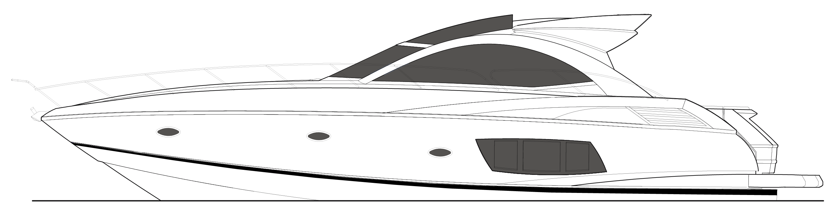 image freeuse download Sunseeker portofino . Yacht clipart black and white