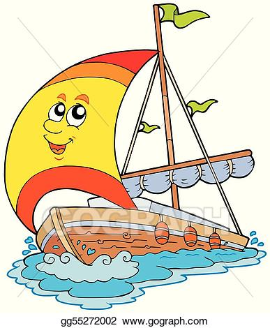 graphic library Yacht clipart cartoon. Vector art drawing gg