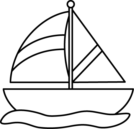graphic freeuse stock Boats drawing black and white. Sailboat in water classroom